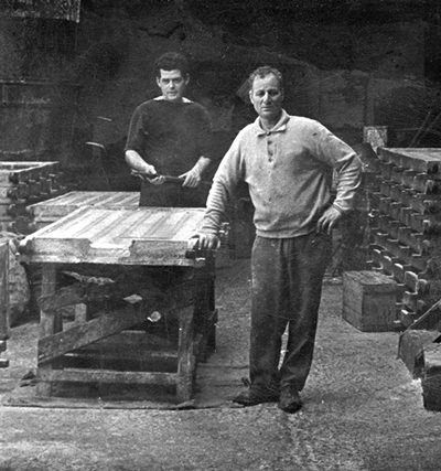 Apostolos Patounis' ancestors of family soap business based in Corfu, Greece, inside their factory